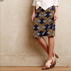 ANTHROPOLOGIE Maeve Kanara Geometric Pencil Skirt